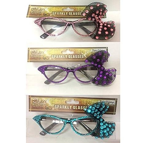 Occhiali Anni 50 con Fiocco e Glitter Colori Vari - accessori CARNEVALE 65a48877377