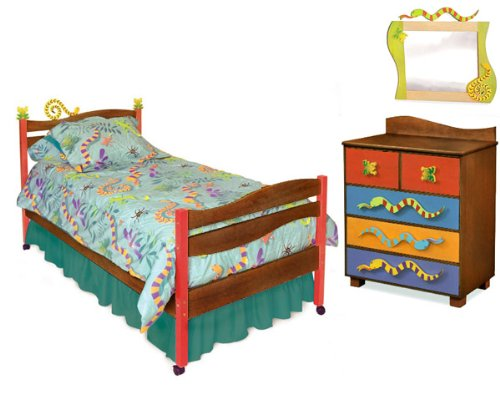 Little Lizard Twin Bed (Room Magic Chocolate 5 Piece Bedroom Set, Little Lizard)