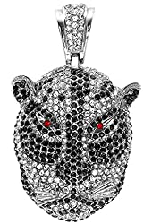 Black & White Crystal Micro Pave Mens Tiger Face Pendant (3.00 inch x 1.75 inch)