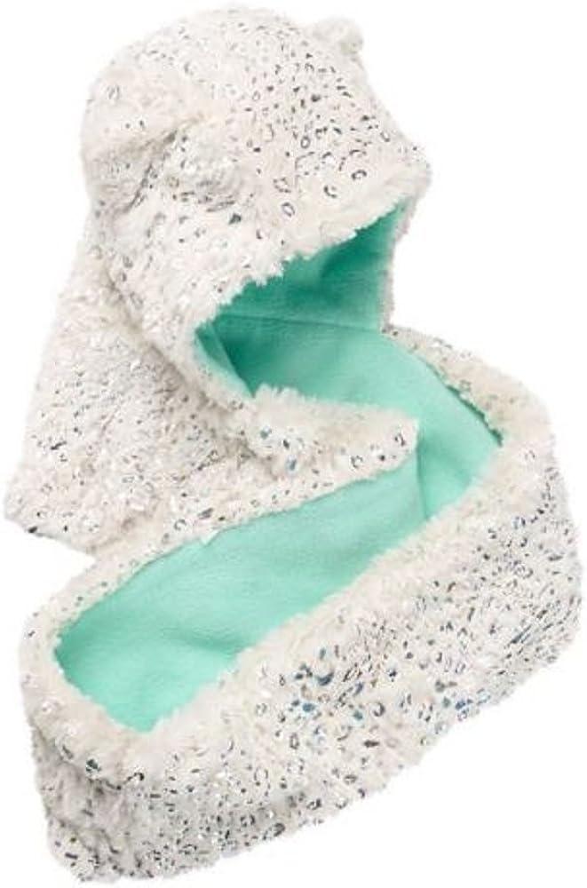 NEW Girls 4-16 SO Faux-Fur Sparkle Leopard Fleece-Lined Hooded Infinity Scarf