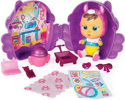 Casetta Alata Cry Babies Magic Tears Fantasy Winged House Bambole con Glitter in Capsula Serie Winged House Colore Viola