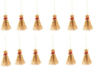 ULTNICE Mini Natural Craft Brooms Hangings Broom Toy with Red Rope Straw for Kitchen Garden Miniature Doll House Party Decor Halloween Ornaments 12PCS