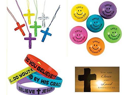 BizzyBecca 145 Piece Religious Christian Theme Party Favors Gift Bundle Set for Kids ()