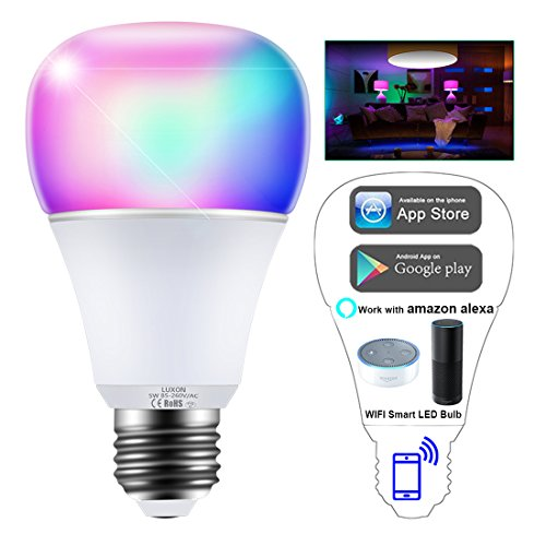 WiFi Smart Light Bulb Intelligent Lights 5W RGBW Color Changing Dimmable LED Bulbs with Timer Smartphone App Control Lamp Work with Amazon Alexa Echo Dot / Google Home No Hub Required