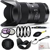 Sigma 210306 18-35mm F1.8 DC HSM Lens for Nikon APS-C DSLRs (Black) + 3 Piece Filter Kit (UV-CPL-FLD) + 4 Piece Macro Filter Kit (+1,+2,+4,+10) + Lens Hood + Lens Cap & Keeper + Dust Blower + Cleaning Pen + Cloth
