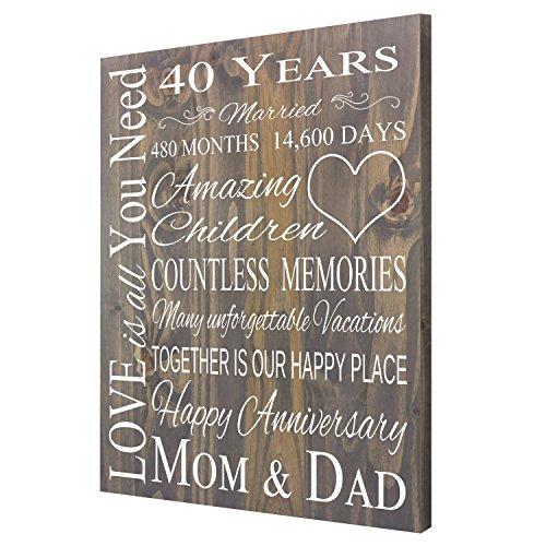 Handpainted Sign Anniversary gift, 40th Anniversary Gift For Parents, Gift for Grandparents