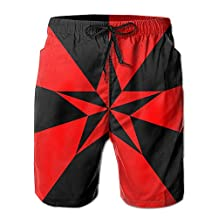 Vvw4 Red And Black Star Breathable Swim Board Beach Shorts Surfing Running Swimming Watershorts With Poket For Men