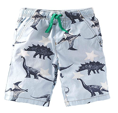 Koupa Little Boys' Dinosaur Cotton Shorts Summer Beach Shorts 6097 (5-6 Years, Light Blue) by Koupa