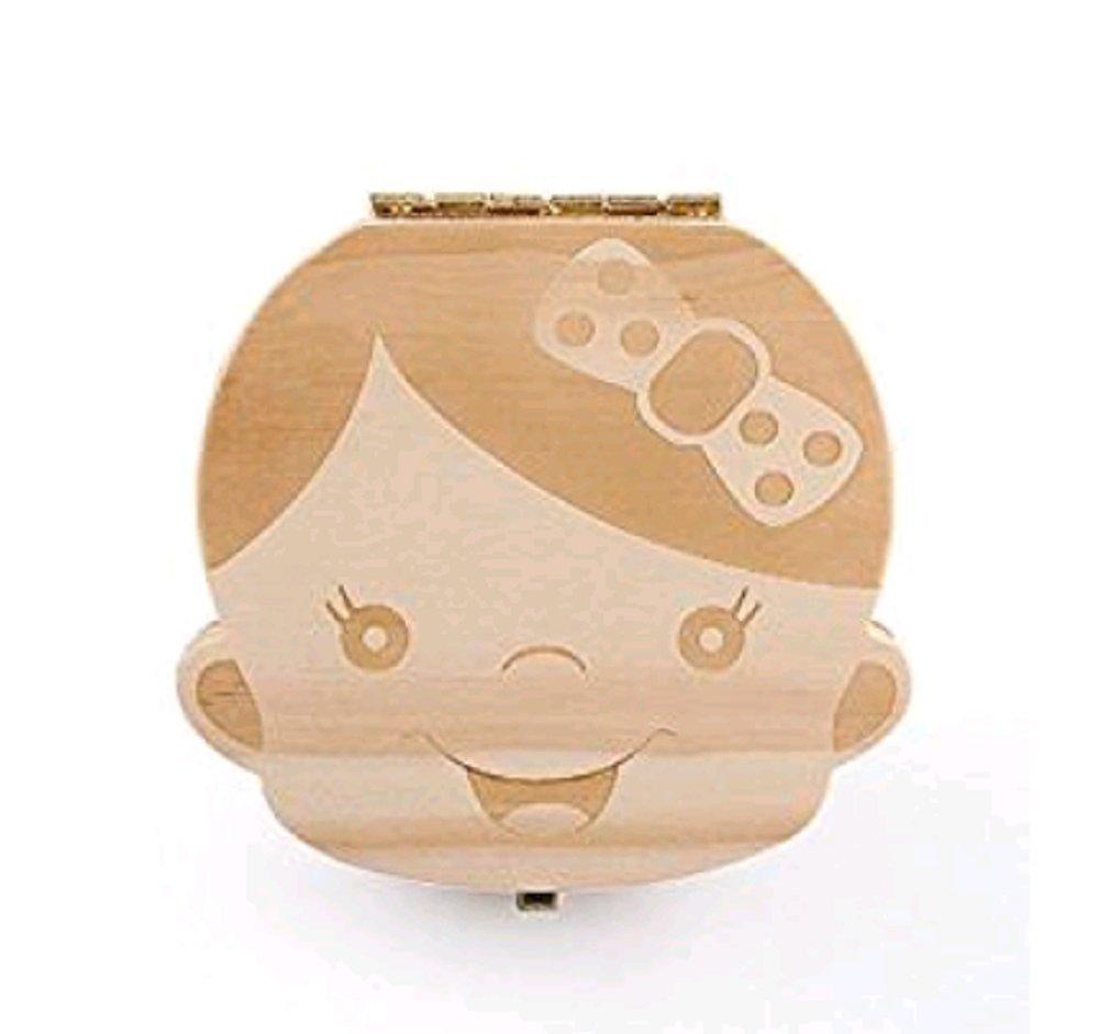 Hosaire Baby Teeth Box Child Milk Teeth Saver Wood Keepsake Organizer Deciduous Souvenir Box Baby Tooth Box English Girl