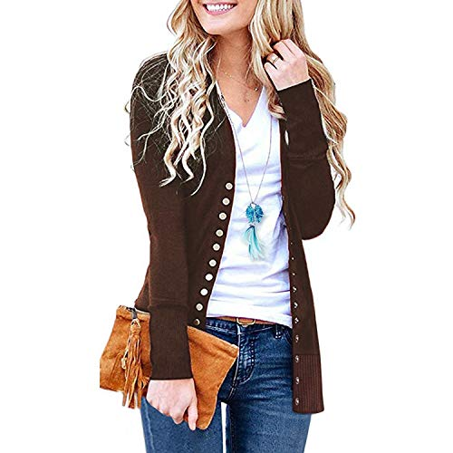 SATINATO Sweaters for Women,Cardigan Sweaters for Women, Long Sleeve Soft Basic Knit Solid Color Cardigan Sweater (Short-Brown, XXL)