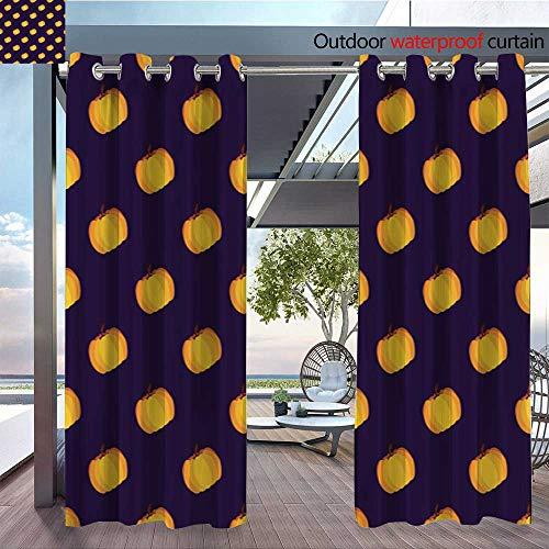 BlountDecor Fashions Drape Purple Yellow Holiday Seamless Halloween Pattern Outdoor Curtain Waterproof Rustproof Grommet Drape W72 x L84/Pair ()