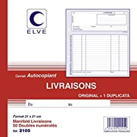 ELVE 22405 Manifold Autocopiant 210x 210mm Foliotage 50 Duplis Imprimés Livraisons Assorties