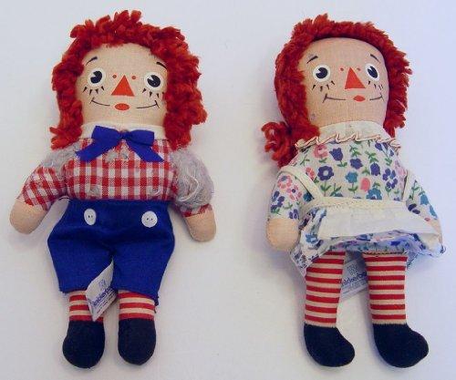 1970's Vintage Knickerbocker Raggedy Ann & Raggedy Andy 6.5 Inch Rag Dolls