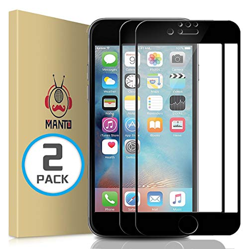 MANTO (2 Pack) iPhone 7 8 6S 6 Screen Protector, Full Coverage Tempered Glass Screen Protector Film Edge to Edge Protection Compatible with iPhone 7, iPhone 8, iPhone 6S, iPhone 6, 4.7 Inch, Black ()