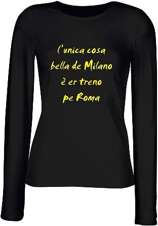 T-Shirt para Las Mujeres Manga Larga Negra T0494 l Unica Cosa Bella de Milano e er treno PE Roma Fun Cool Geek: Amazon.es: Ropa y accesorios