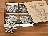 Cheap Personalized Christmas Gift Wooden Christmas Ornament Rustic Christmas Snowflake Set of 8-24 Christmas Decoration Deer Christmas Gift for Couple Family gifts Ideas Xmas Home Decor Wooden Snowflake Box