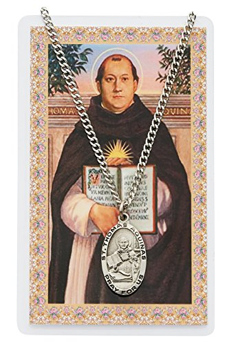 St. Thomas Aquinas 1-inch Pewter Medal Pendant Necklace with Holy Prayer Card