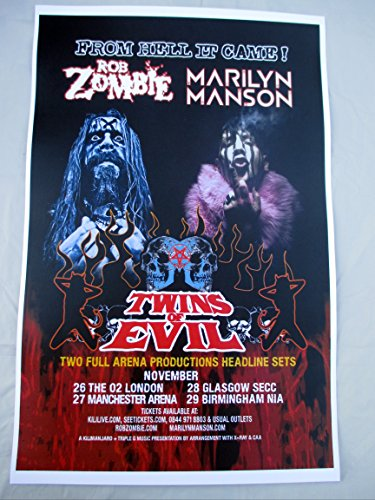 (2012 Rob Zombie & Marilyn Manson Twins of Evil UK Concert Poster Mayhem Festival)
