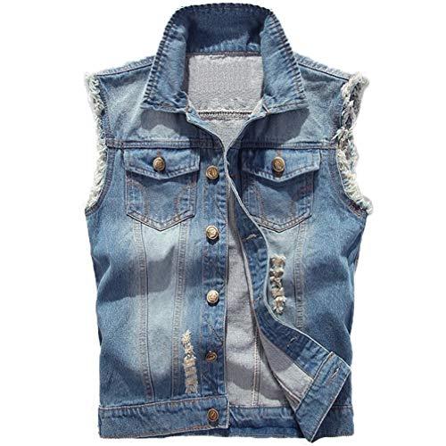 Saukiee Men's Casual Lapel Denim Vest Jacket Vintage Slim Fit Sleeveless Ripped Jeans Vests Light Blue
