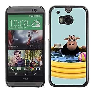 Caucho caso de Shell duro de la cubierta de accesorios de protección BY RAYDREAMMM - HTC One M8 - Cow Pool Party Summer Toys Water Summer