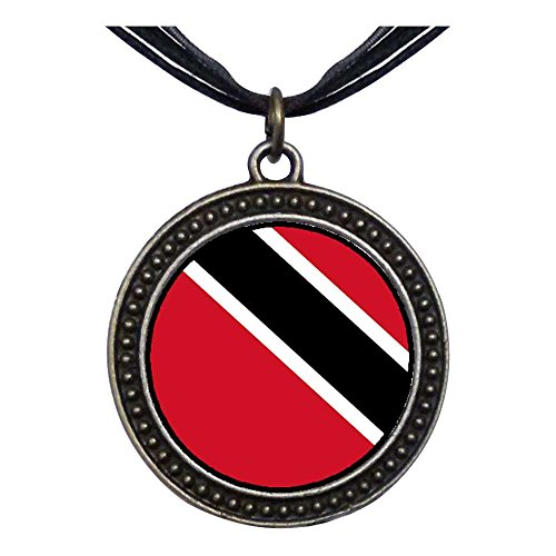 (GiftJewelryShop Bronze Retro Style Trinidad and Tobago flag Dots Flower Pendant Charm Necklaces)