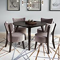 CorLiving Atwood 5 Piece Dining Set with Velvet Chairs in Black