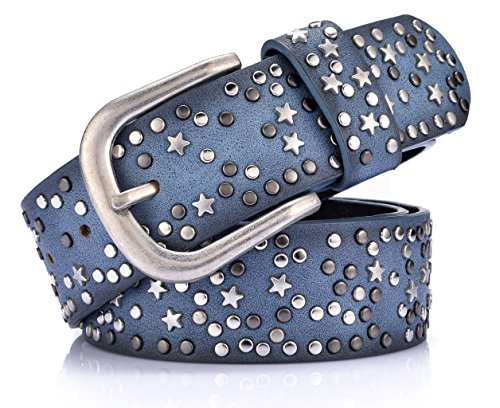 Ayli Women's Jean Belt, Stars Rivets Punk Rock Handcrafted Genuine Leather Belt, Free Gift Box, Blue, Fits Waist 34