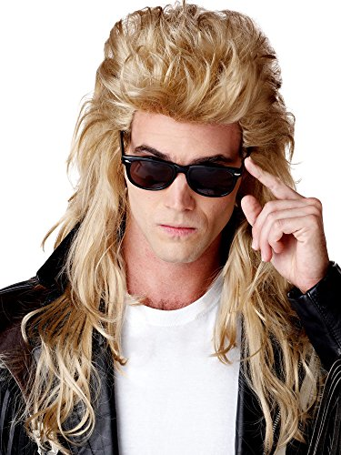 California Costumes 80S Rock Mullet Wig, Blonde, One -