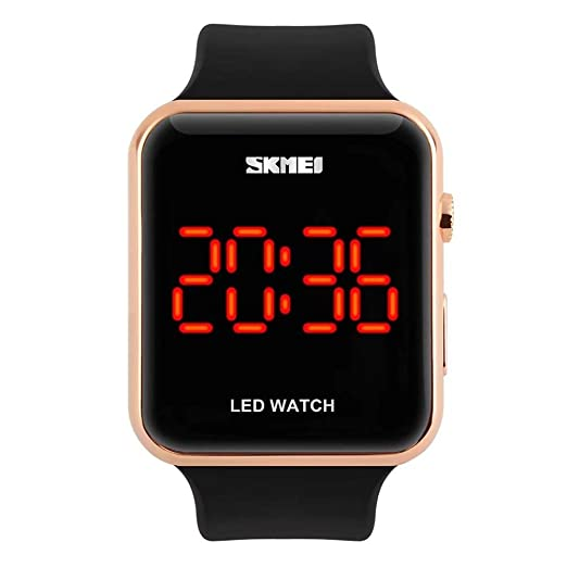 Unisex Square Large Face LED Digital Watch Electronic for Men Watch for Women Student Silicone Watches