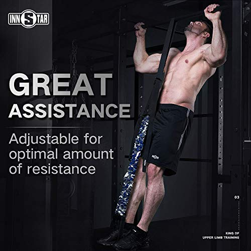 INNSTAR Pull up Chin up Assist Band,Adjustable, with Carry Bag for Men Women Naturl Latex