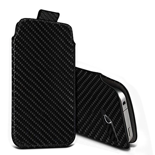 (Black Carbon 156,1 x 77,9 mm) Beutelkasten für Mobiwire Kwanita Fall Carbon-Effekt-Qualitäts-Pull Tab-Schlag-Beutel-Haut, Fallabdeckung Mobiwire Kwanita Fall mit gehärtetem Glas 5,5 Zoll 5,5 Zoll von Pull tab + glass 5.5 inch (Black Carbon)