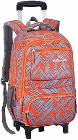 Adanina Nylon Waterproof Elementary Rolling Backpack Primary Senior school  Trolley Book Bag Removable Wheeled School Bag bad6b96aeef64