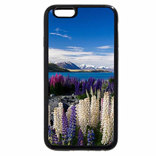 iPhone 6S Plus Case, iPhone 6 Plus Case, multicolored lupins on a beautiful lake