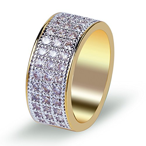 TOPGRILLZ 18K Gold 10mm ETERNITY Wedding Engagement Band Lab Diamond Iced Out Mens Ring