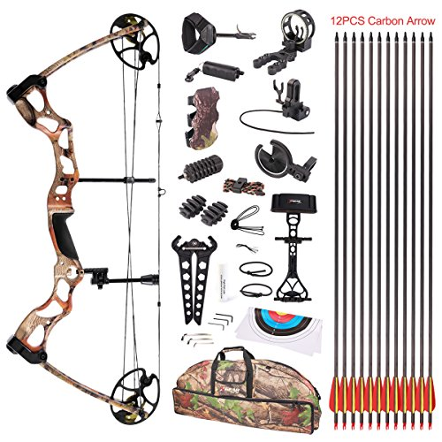 Leader Accessories Compound Bow Hunting Bow 50-70lbs with Max Speed 310fps (Autumn Camo With Full Accessories) For Sale