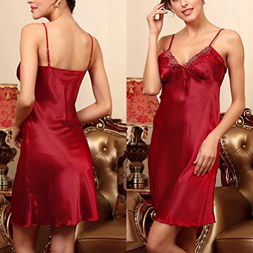 Zhhlinyuan Women's Silk Nightgown Deep-V Lingerie Satin Nightdress DQ113 Wine Red