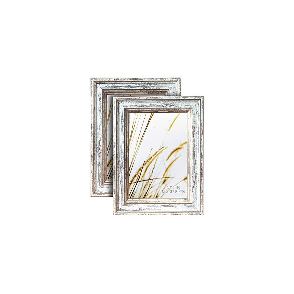ArtbyHannah 2 Pack 5x7 Inch Farmhouse Rustic Picture Frame Sets with Distressed White Wood Grain for Wall Mount or…