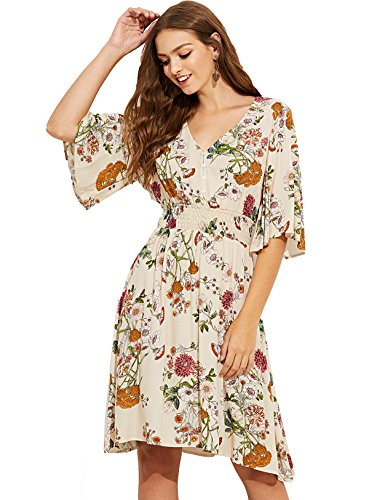 Milumia Women's Boho Button Up Split Floral Print Flowy Party Dress Small Multicolor-7