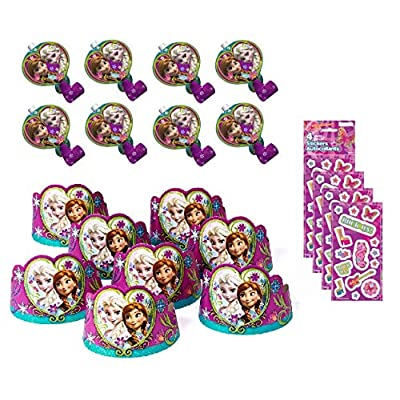 Frozen Princess Birthday Party Pack includes 8 Tiara, 8 Blowouts, 4 Sticker Sheets: Toys & Games