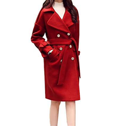 JIN PING® Abrigo de lana de temperamento simple, sección larga de otoño e invierno