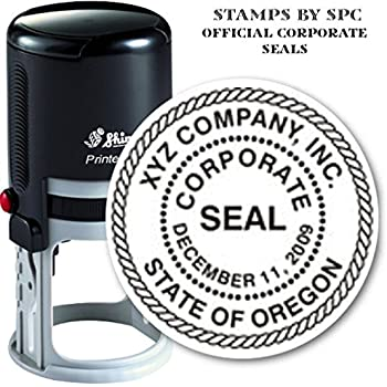 """Custom Corporate Or Company Seal // Quality Medium Duty Self-Inking Stamp (Seal) // Seal Design Features A Decorative Rope Border // Impression 1 5/8"""""""