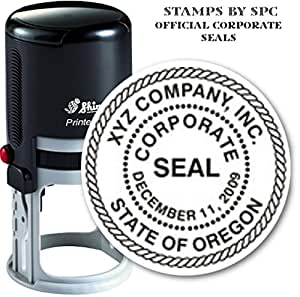 Custom Corporate Or Company Seal // Quality Medium Duty Self-Inking Stamp (Seal) // Seal Design Features A Decorative Rope Border // Impression 1 5/8""