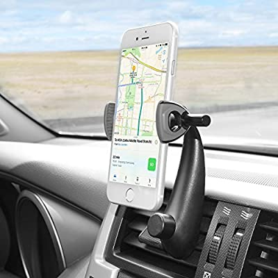 Car Phone Holder, Veckle Car Mount Holder Air Vent, Easy Install Universal Car Mount Cell Phone Holder Stand Cradle for Smartphone Car iPhone 7 6S 6 Plus Samsung Galaxy S8 S7 S6 Edge GPS - Black
