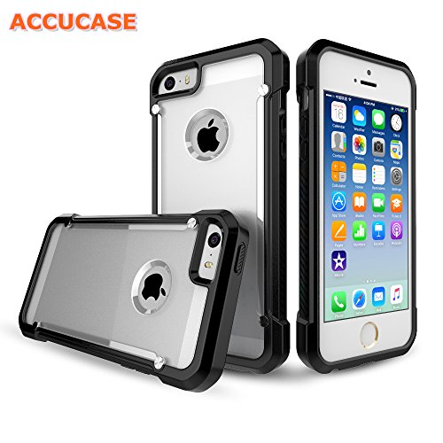 Iphone 5 Case,iphone 5s Case,iphone SE Case,ACCUCASE The Newly Designed Matte Material [Scratch-Resistant][Shockproof][Drop Resistant]Durable Protective Case Cover For Apple Iphone 5/5s/SE (Black)