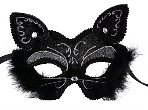 Venetian Masquerade Mask Women's Sexy Black Glitter Fancy Cat Lace Eye Mask