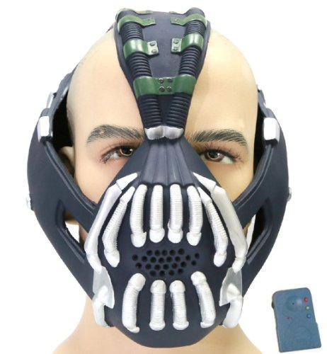 [TDKR Bane Mask with Voice Changer Props for Halloween Costume Silver] (Voice Changer Mask)