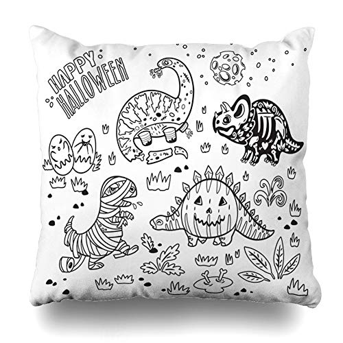 (Decorativepillows Case Throw Pillows Covers for Couch/Bed 18 x 18 inch, Happy Halloween Pumpkin Mummy Ink Style Book Home Sofa Cushion Cover Pillowcase Gift Bed Car Living)