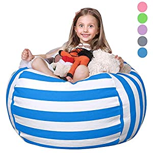 WEKAPO Stuffed Animal Storage Bean Bag Chair Cover for Kids | Stuffable Zipper Beanbag for Organizing Children Plush Toys | 38″ Extra Large Premium Cotton Canvas