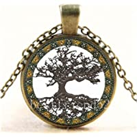 Vintage Celtic Tree of Life Cabochon Glass Bronze Chain Pendant Necklace