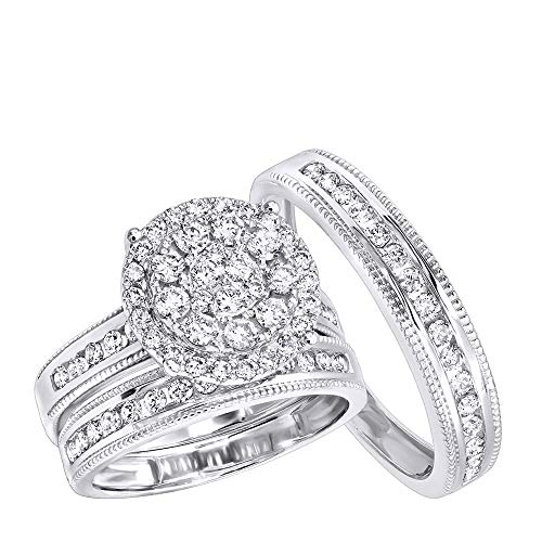 Royal Trio Wedding Band Set: Diamond Engagement Ring Set in 14K Gold 1.75ctw (White Gold, Size 7) (4mm Channel Diamond Platinum Ring)